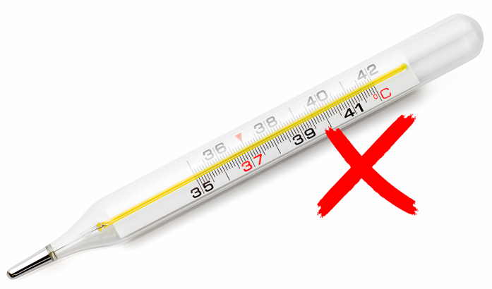 Do not use a mercury thermometer