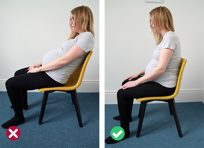 Pregnancy posture - right and wrong sitting position