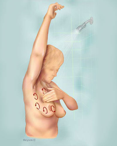 Drawing of a woman standing in a hot shower with her left arm raised using her right hand to check her left breast using a circular motion.